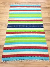 Durrie Green Cream red  Striped Handloomed Cotton Rag Rug 60x90cm 90x150 33%OFF