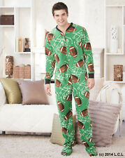 Mens Football Footed Fleece Pajamas IN STOCK Adult Footie Union Suit One Piece