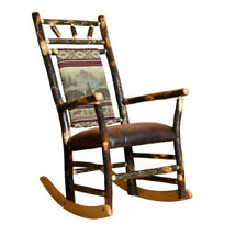 Rustic Hickory Fabric Back Rocking Chair and Ottoman *5 Fabric Choices* Amish