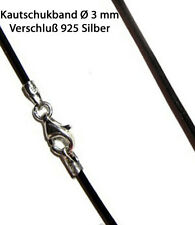 Rubberband ø 3 mm black Seal 925 Silver Rubber Necklace Halsband