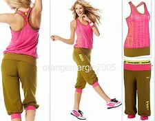 ZUMBA  FITNESS~2 PIECE SET!! ~Capri PANTS & BURN OUT Shirt BUBBLE TOP RACERBACK~