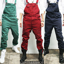 Mens Pants Vintage Style Painted Suspender Color Overalls Jean, GENTLERSHOP
