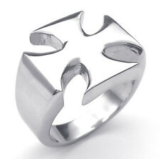 Fashion 316L Stainless Steel Silver Tone Cross Men Ring
