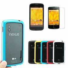 Hybrid Bumper Cover Case Skin Frame For LG Google Nexus 4 E960 + Flim