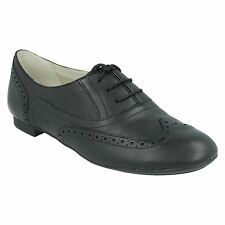 LADIES CLARKS LACE UP CASUAL BLACK PATENT LEATHER BROGUE SHOES CAROUSEL TRICK