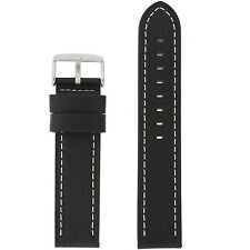Watch Band Long Black Carbon Fiber White Stitching LEA462L