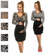 Happy Mama Pregnancy Maternity Women's Stretch Animal Print Dress 938