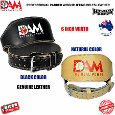 DAM LEATHER WEIGHT LIFTING BELT BODY BUILDING GYM BACK SUPPORT BELTS 6 INCH, NEW