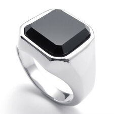 316L Stainless Steel Princess Cut Black Onyx Silver Tone Men Ring