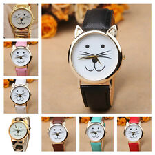 *UK* CUTE CAT FACE WRIST WATCH with GOLD EARS and EIGHT COLOURED STRAPS! KITTEN