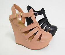 NEW WOMENS STRAPPY ANKLE STRAP PLATORM Closed Toe High Heel Wedges Sz 6-11