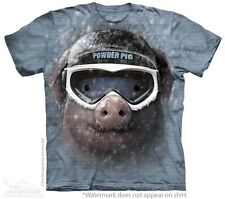 Big Face Powder Pig T-Shirt by The Mountain. Skiing Giant Head Farm Animal S-5XL