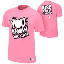 WWE AUTHENTIC Dolph Ziggler You Know You Can RISE ABOVE CANCER PINK MENS SHIRT