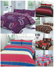 Polycotton Duvet Quilt Cover Set With Pillow Cases Single,Double King Super