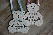Personalised Baby's First Christmas Tree Decoration Teddy Bear Wooden Blue Pink