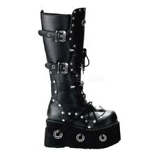 "Demonia 4.5"" Platform Industrial Buckle Riveted Knee Boots Rocker Goth Mens 4-12"
