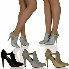 WOMENS LADIES HIGH HEELS STILETTOS CUT OUTS BOOTIES POINTED TOE T-BAR SHOES SIZE
