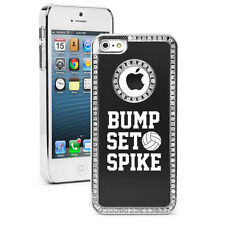 iPhone 4 4S 5 5S 5c Black Rhinestone Bling Hard Case Bump Set Spike Volleyball