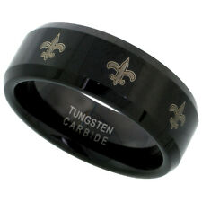 8mm Black Tungsten Wedding Band Ring, Etched Fleur De Lis Pattern Beveled Edges