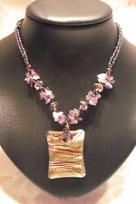 PURPLE GLITTER GLASS NECKLACE VINTAGE STYLE JEWELLERY PENDANT NATURAL STONES 19""