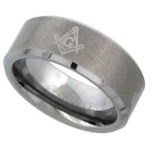 8mm Tungsten Flat Wedding Band Ring Etched Masonic Compass Pattern   #801rtn
