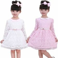 Kids Toddler Girls Princess Wedding Dress Party Flower Pink Lace SZ2-7Y Clothing