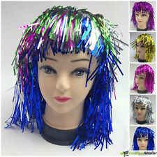 TINSEL WIG Metallic Fancy Dress 70s Costume Mens Womens Unisex Disco New