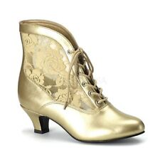 """Gorgeous 2"""" Gold & Lace Victorian Granny Pioneer Cosplay Ankle Boots Witch 6-12"""