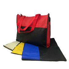 20 LOT 2 Tone Foldable Zippered Tote Totes Grocery Shopping Bags Wholesale Bulk