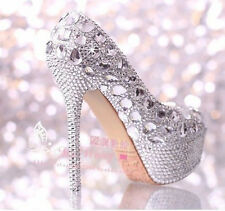 Women's Silver Crystal Ornate High Heels Platform Wedding/evening party shoes
