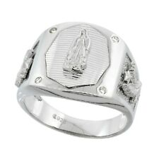 Sterling Silver Men's Octagonal Guadalupe Ring w/ Eagle Sides & CZ Stone Accents