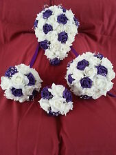 Ivory and purple bridal bouquet, bridesmaid posy, flowergirl posy - var colours