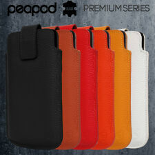 PeaPod® Premium Series Real Leather Magnetic Tab Pouch Case for Google Nexus 5