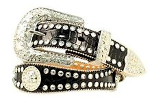 Blazin Roxx Western Womens Belt Gator Scalloped Rhinestone Black N3512001