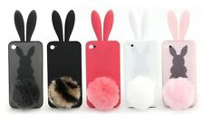 Sofe Cute Rabbit Bunny Ear Silicone Case with Bushy Tail for iPhone 4/4G