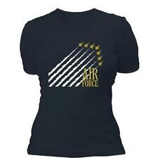 Navy Blue Air Force Women's Cotton Tee Shirt - 1x1 Baby-Ribbed Tee, USAF