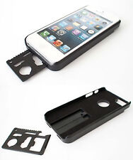 Hard Metal Back Shell Case Bumper Cover with Multi Tool for iPhone 5s 5 4S 4