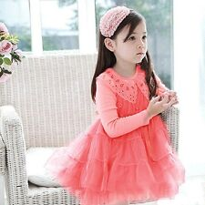 Baby Girls Kids Party Princess Fluffy Flora Tutu Ruffle Tulle Dress 2-7Y