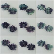 0611 Two Carved Fluorite Flower Pendant Bead