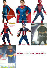 * NEW BOYS SPIDERMAN SUPERMAN BATMAN CAPTAIN COSTUME DRESSUP 2 6 8 10 12 14