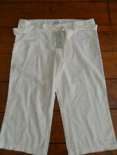 LADIES Next BNWT White linen mix cropped trousers size 10 tall