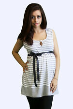 Stripped Gray Ribbon  Maternity Blouse Casual Sleeveless Top S M L XL