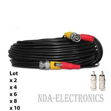 100ft BNC Video Power Cable for CCTV Security Camera System Lot 2 4 6 8 10 Black