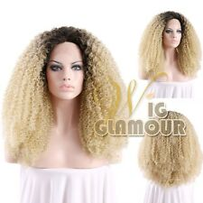 """Long Spiral Curly 18""""-28"""" Black With Blonde Lace Front Wig Heat Resistant"""