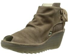 FLY LONDON YEMA TAUPE OIL SUEDE LACE UP BACK OPEN TOE AND SIDE  WEDGE ANKLE BOOT