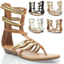Women Open Toe Strappy Cage Lace Up Gladiator Mid Calf Flat Sandal Bootie US5-11