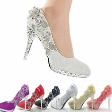 Women lace Flowers Glitter Crystal High Heel Platform Wedding Party Bridal Shoes