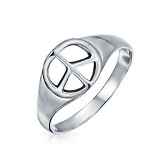 Bling Jewelry Unisex Sterling Silver Peace Sign Ring