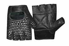 MESH  WEIGHT LIFTING PADDED LEATHER GLOVES TRAINING CYCLING GYM  BLACK