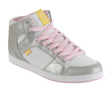 ETNIES Silver White Pink Leather Mid Skate Shoes Size 5 & 7 NEW Women's